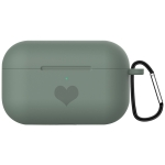 For AirPods Pro Love-heart Pattern Silicone Earphone Protective Case with Hook (Dark Green)