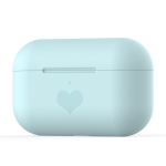 For AirPods Pro Love-heart Pattern Silicone Earphone Protective Case (Blue)
