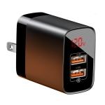 Baseus Mirror Lake Series CCJMHA 18W Dual QC Digital Display Quick Charger, A+A, US Plug(Black)