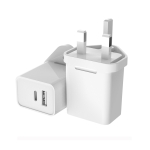 E020 USB + Type-C Dual Port Quick Charger Power Adapter, UK Plug (White)