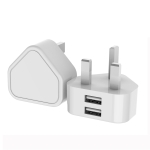 E008-1 Dual USB Port Quick Charger Power Adapter, UK Plug(White)