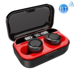 X5 Bluetooth V5.0 Wireless Stereo Headset with Charging Case and Digital Display, Support Intelligent Pairing (Black Red)