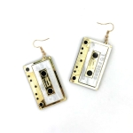 2 Pairs Women Fashion Retro Acrylic Tape Earrings (Gold)