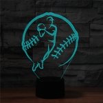 Baseball Sport Shape 3D Colorful LED Vision Light Table Lamp, Charging Touch Version
