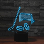Ice Hockey Shape 3D Colorful LED Vision Light Table Lamp, Crack Touch Version