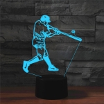 Playing Baseball Shape 3D Colorful LED Vision Light Table Lamp, USB Touch Version
