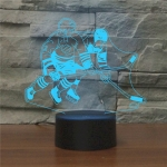 Playing Ice Hockey Shape 3D Colorful LED Vision Light Table Lamp, USB Touch Version