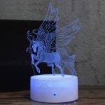 Low Head Unicorn Shape Creative Wood Base 3D Colorful Decorative Night Light Desk Lamp, Remote Control Version