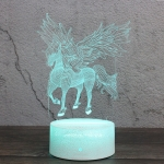 Spread Wings Unicorn Shape Creative Crack Base 3D Colorful Decorative Night Light Desk Lamp, Remote Control Version