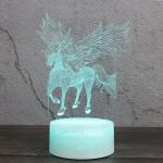 Spread Wings Unicorn Shape Creative Wood Base 3D Colorful Decorative Night Light Desk Lamp, Remote Control Version