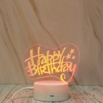 Happy Birthday Shape Creative Crack Touch Dimming 3D Colorful Decorative Night Light
