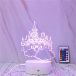 Castle In The Sky Shape Creative Crack Touch Dimming 3D Colorful Decorative Night Light with Remote Control