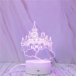 Castle In The Sky Shape Creative Crack Touch Dimming 3D Colorful Decorative Night Light
