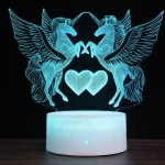 Two Unicorns Shape Creative Black Base 3D Colorful Decorative Night Light Desk Lamp, Remote Control Version