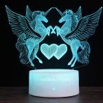 Two Unicorns Shape Creative Wood Base 3D Colorful Decorative Night Light Desk Lamp, Remote Control Version