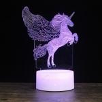 Leap Up Unicorn Shape Creative Wood Base 3D Colorful Decorative Night Light Desk Lamp, Remote Control Version