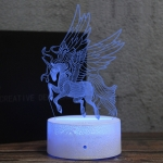 Low Head Unicorn Shape Creative Black Base 3D Colorful Decorative Night Light Desk Lamp, Remote Control Version