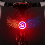USB Charging Red Blue Color Riding Light Rear Lamp Safety Warning Light (Cancer Style)