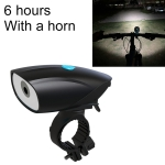 USB Charging Bike LED Riding Light, Charging 6 Hours with Horn (Black)