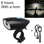 USB Charging Bike LED Riding Light, Charging 6 Hours with Horn & Line Control (Black)