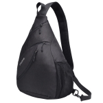 Outdoor Large Capacity Wear-Resistant Triangle Bag Slant Across Waterproof Single Shoulder Backpack (Black)