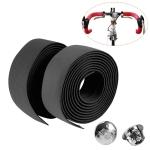 1 Pair New Cycling Road Bike Sports Bicycle Cork Handlebar Tape Wrap + 2 Bar Plug (Black)