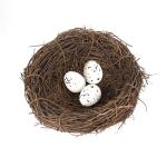 12cm Simulation Bird Nest + 3 PCS Bird Egg Holiday Decoration