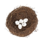 15cm Simulation Bird Nest + 5 PCS Bird Egg Holiday Decoration
