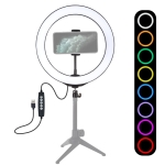 PULUZ 10.2 inch 26cm USB 10 Modes RGBW Dimmable LED Ring Vlogging Photography Video Lights with Cold Shoe Tripod Ball Head & Phone Clamp (Black)