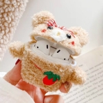 For Apple AirPods 1/2 Gen General Purpose Plush Bowknot Embroidered Baby Bear Bluetooth Headphone Protective Case