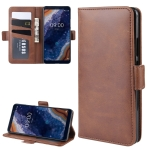 For Nokia 9 PureView Double Buckle Crazy Horse Business Mobile Phone Holster with Card Wallet Bracket Function(Brown)