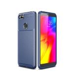 For Motorola Moto E6 Play Beetle Series Carbon Fiber Texture Shockproof TPU Case(Blue)