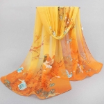 Autumn and Winter Ladies Wild Chiffon Thin Long Scarf Decorated Scarf Shawl, Width:10cm(Yellow Coffee)