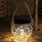 Outdoor Solar Hanging Light LED Hemp Glass Chandelier Solar Garden Light