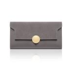 Women Splicing Long Wallet Ring Snap Multi-function Coin Purse(Grey)