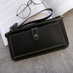 PU Leather Long Wallet Women Purse Female Clutch Zipper Wallets(Black)