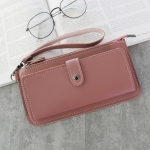 PU Leather Long Wallet Women Purse Female Clutch Zipper Wallets(Navy Pink)