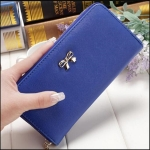 Women Long Wallet Zipper Phone Bag Korean Bow Multi-card Purse(Royal Blue)
