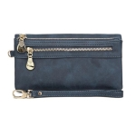 Women Long Wallet Female High Capacity Double Zippers Clutch Purse(Blue)