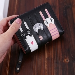 Cartoon Cat Cute Lady Wallet Card Pocket Coin Purse(Black)