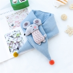 Autumn and Winter Cartoon Shape Pointed Wool Ball Cotton Warm Children Scarf, Size:75 x 7cm(Mouse+Sky Blue)