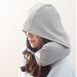 Portable Airplane Travel U-shaped Hooded Pillow Nap Time Neck Pillow(Light Grey)