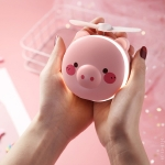 USB Charging Mini Portable LED Night Light Vanity Mirror with Fan(Pink Pig Wink)