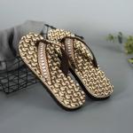 2 Pairs Men Anti-slip Soft Bottom Fashion Wear Massage Sandals Slippers, Size:44(Circle Brown)