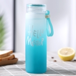 Creative Minimalist Gradient Color Glass Ladies Portable Scrub Couple Cup, Capacity: 401-500ml(Blue)