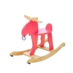 Children's Toddler Wooden Car Elk Wooden Horse Rocking Chair(Red)