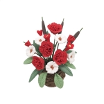 1:12 Mini House Toy Simulation Flowers for Garden Balcony(Red+White)