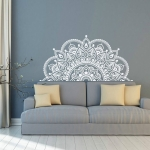 2PCS Mandala Flower PVC Removable Personality Wall Sticker Living Room Bedroom Sofa Background Wall(White )