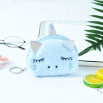 Creative Mini Cartoon Plush Unicorn Coin Purse(Blue)