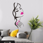 Beauty Studio Personality Creative Beauty Portrait Carved Wall Stickers(Plum)